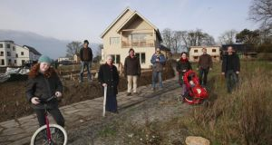 Residents at Cloughjordan Eco Village in Tipperary.Photograph: Brenda Fitzsimons / The Irish Times