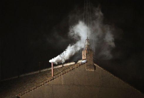 Habemus Papam! White smoke is seen coming from the  chimney on the Sistine Chapel as a new pope is elected . Photograph: Getty