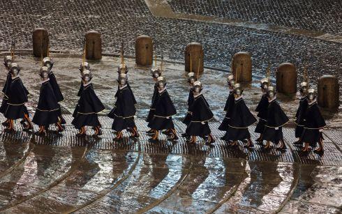 Pontifical Swiss Guards arrive before the introduction of  the new at Peter's Basilica. Photograph: Reuters