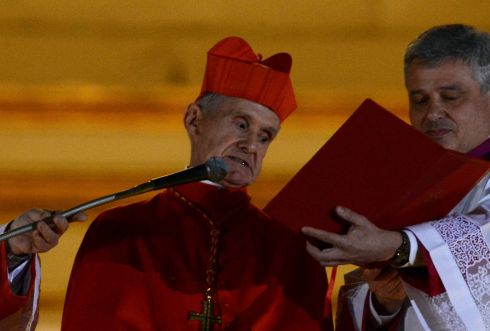 French Cardinal Jean-Louis Tauran announces Pope Francis, Cardinal Jorge Mario Bergoglio of Argentina has been elected by the conclave at the Vatican. Photograph:  Reuters