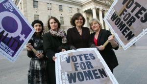 Representatives of An Post and The National Women's Council of Ireland at a photocall in March 2011 to unveil the issuing of two stamps to mark International  Women's  Day.  Photograph: Bryan O'Brien