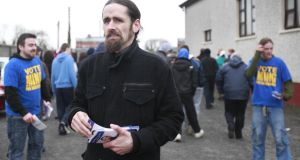 Ming with  his people: Independent TD Luke 'Ming' Flanagan campaigning at Hyde Park,   Roscommon. Photograph: Brenda Fitzsimons/The Irish Times
