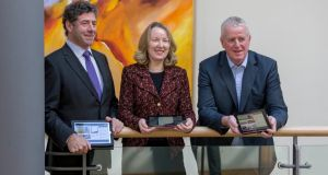 Glanbia chairman Liam Herlihy, group finance director Siobhán Talbot and managing director John Moloney at the announcement of Glanbia's 2012 full-year results yesterday in Kilkenny