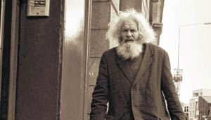 Ned Delahunty, an 83 year old homeless man, pictured last year. He spent around 20 years sleeping rough in a doorway on Oliver Bond Street in Dublin's south inner city. He died on January 17th and his funeral took place yesterday, March 13th, at John's Lane Church on Thomas Street. Photograph: Eddie Mallin