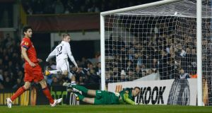 Gylfi Sigurdsson  scores a goal against Inter Milan in the first leg at White Hart Lane. Photograph: Eddie Keogh/Reuters