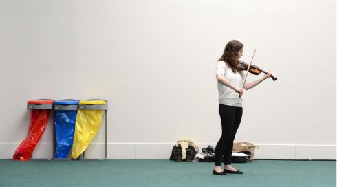 Jennifer Murphy, from Dundalk rehearsing before competing in the Arthur Catterall Cup, which she subsequently won, in the Electric Ireland Feis Ceoil, in the RDS Dublin on Monday. Photo: Dara Mac Donaill / THE IRISH TIMES