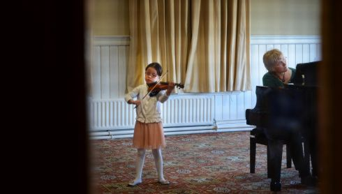 Daimee Chu Tao Ng, during U9 Junior Violin, at the Electric Ireland Feis Ceoil, in the RDS Dublin. Photo: Dara Mac Donaill / THE IRISH TIMES
