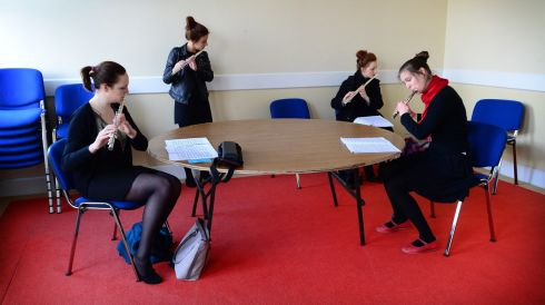 Senior Flute competitors backstage at the Electric Ireland Feis Ceoil (from left)  Aedin Donnelly from Castleknock, Emma Kenrick from Knocklyon, Amy Gillen from Donegal and Imogen Grumley Traynor from Dundrum. Photo: Bryan O'Brien / THE IRISH TIMES
