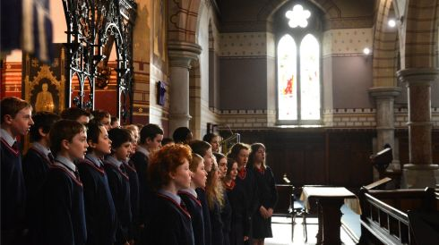Wesley College sing  during Coir Aon Ghutha at St. Bartholomew's Church, Clyde Road, at the Electric Ireland Feis Ceoil. Photo: Dara Mac Donaill / THE IRISH TIMES