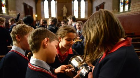 Pupils from Wesley College, winners of the Coir Aon Ghutha /  Choir competition at St. Bartholomew's Church, Clyde Road, at the Electric Ireland Feis Ceoil, in the RDS Dublin. Photo: Dara Mac Donaill / THE IRISH TIMES