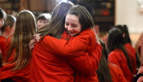 Penston Vocal Academy, Arklow, celebrate winning the Youth Choir 2-part at the Electric Ireland Feis Ceoil. Photo: Dara Mac D?naill / THE IRISH TIMES