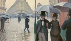 Ghostly sheen: in Gustave Caillebotte's Paris Street, Rainy Day, seen here in detail, the lavish individuality and colour of earlier paintings have given way to the other side of fashion: its creation of a uniform, depersonalised conformity. Photograph: Metropolitan Museum of Art