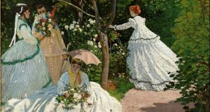 Women in the Garden: Claude Monet's painting, seen here in detail, is dominated by the meticulously re-created summer dresses, with their high-waisted bodices and voluminous crinoline skirts. Photograph: Musée d'Orsay