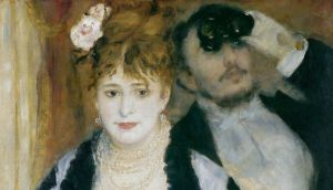 Bold as brass: a detail of the sumptuously dressed woman in Auguste Renoir's The Loge looks out at us from an opera box with a sense of entitlement that seems to come from her lavish attire. Photograph: Samuel Courtauld Trust