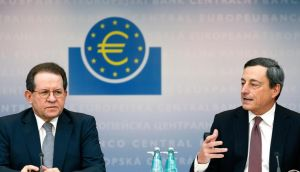 ECB vice-president Vitor Constancio with the bank's president Mario Draghi. Photograph: Ralph Orlowski/Bloomberg