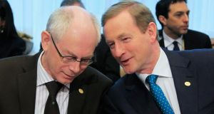 European Council president Herman Van Rompuy with  Taoiseach Enda Kenny. A Cyprus deal might give Mr Kenny more leverage as he campaigns for further concessions to ease Ireland's banking debt. Photograph: Reuters/Yves Herman
