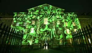 Festival celebrations got into full swing with a spectacular projection on Trinity College Dublin, marking the official countdown to open the St Patrick's Day Festival. Photograph: Brenda Fitzsimons