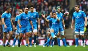 Luciano Orquera of Italy kicks the ball down field during the RBS Six Nations match England and Italy at Twickenham. Photograph: Julian Finney/Getty Images.