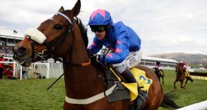 Joe Tizzard riding Cue Card clear the last to win The Ryanair Steeplechase at Cheltenham. Photograph: Alan Crowhurst/Getty Images