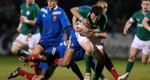 Ireland's Tom Daly in actio against France at Dubarry Park. Photograph: James Crombie/Inpho