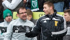 Hibernian manager Pat Fenlon argues with the fourth official Steven McLean during the  Scottish Premier League match at Easter Road. Photograph: Chris Clark/PA