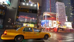 USA, New York, Times Square, yellow taxi cab