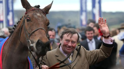 Trainer Nicky Henderson with his winning horse Bobs Worth after winning the  Cheltenham Gold Cup Chase during the Cheltenham Gold Cup Day on Day Four of the 2013 Cheltenham Festival at Cheltenham Racecourse, Gloucestershire. Photograph: David Davies/PA Wire