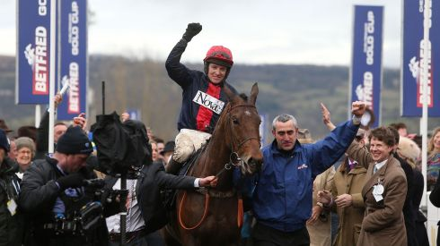 Jockey Barry Geraghty celebrates after winning the Gold Cup Chase on Bobs Worth. Photograph: David Davies/PA Wire