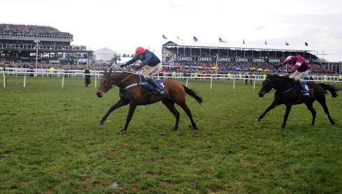 Barry Geraghty on Bobs Worth wins the Cheltenham Gold Cup from Sir des Champs (R). Photograph: Alan Crowhurst/Getty Images