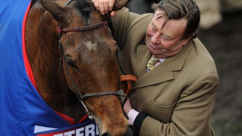 Trainer Nicky Henderson celebrates with Bobs Worth. Photograph: Joe Giddens/PA Wire
