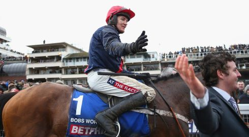 Jockey Barry Geraghty celebrates. Photograph: Michael Steele/Getty Images