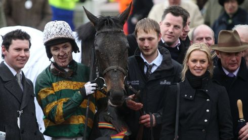 Jockey AP McCoy after winning the Albert Bartlett Novices' Hurdle on At Fishers Cross. Photograph: David Davies/PA Wire