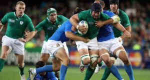 Ireland's Seán O'Brien in action  against Italy in the 2011 Rugby World Cup. Photograph: Dan Sheridan/Inpho