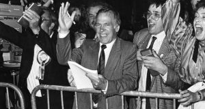 A jubilant Dr John O'Connell, after he was elected in Dublin South Central