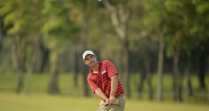 Pádraig Harrington  watches a shot on the Day Two  of the Thailand Open.