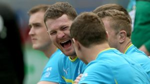 Donnacha Ryan has a laugh during the captain's run in Rome. Photograph: Billy Stickland/Inpho