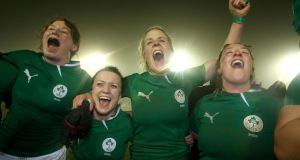 Ireland's Lynne Cantwell (second left) celebrates the win over France in Ashbourne with team-mates Niamh Kavanagh, Joy Neville and Gillian Burke. Photograph: Dan Sheridan/Inpho
