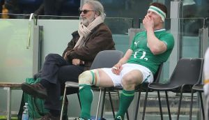 Ireland's Brian O'Driscoll sits on the sideline after being sin-binned in the first half of the game against Italy   at the Stadio Olimpico in Rome. Photograph: Niall Carson/PA Wire
