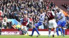 Aston Villa's Gabriel Agbonlahor scores against QPR during the Premier League clash at Villa Park. Photograph: Nick Potts/PA