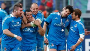 Italy's players (l to r) Michele Rizzo, Gonzalo Canale, Sergio Parisse, Alessandro Zanni and Tobias Botes celebrate after winning against Ireland. Photograph: Alessandro Bianchi/Reuters.