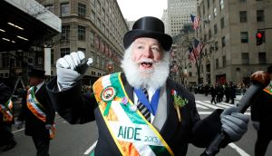A participant marches in the St Patrick's Day Parade in New York today. Photograph: Carlo Allegri/Reuters