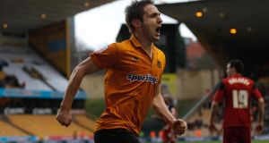 Kevin Doyle  celebrates scoring Wolves'  second goal  during the Championship match against  Bristol City at Molineux. Photograph: Harry Engels/Getty Images