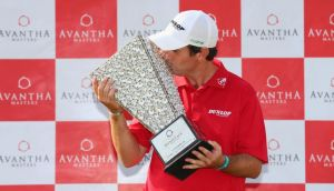 Thomas Aiken of South Africa with the winner's trophy after  day four of the Avantha Masters at Jaypee Greens Golf Club in Delhi, India. Photograph: Julian Finney/Getty Images