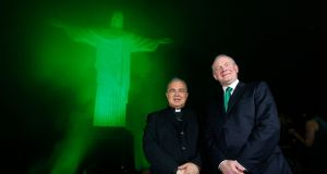 "Archbishop of Rio de Janiero Dom Orani Joao Tempesta, and deputy First Minister Martin McGuinness pictured at the ""global greening"" of the Christ the Redeemer statue in Rio de Janeiro. Photograph: Kelvin Boyes/Press Eye/PA"