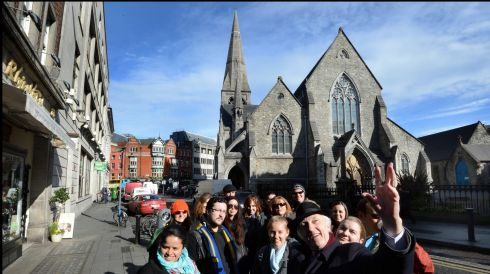 Renowned Dublin historian Pat Liddy photographed on South William Street guiding a tour of Dublin in celebration of St Patrick. Photograph: Brenda Fitzsimons /The Irish Times