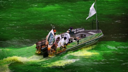 Workers dye the Chicago River green to kick off the city's St Patrick's Day celebration in Illinois. The dyeing of the river has been a tradition in the city for 43 years.  Photograph: Scott Olson/Getty Images