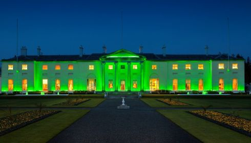 Aras an Uachtarain illuminated green for the first time this year for St Patrick's Festival. Photograph: Peter Moloney/OPW Ireland