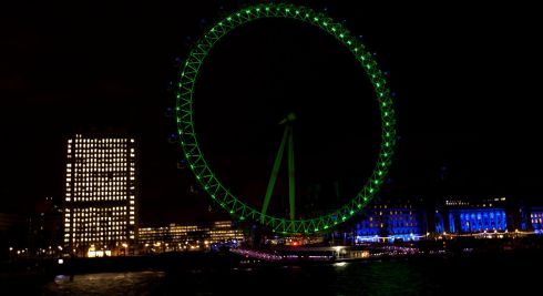 The EDF London Eye is lit green by Tourism Ireland to celebrate St Patrick's Day in London. Photograph: David Parry/PA Wire