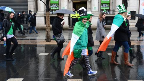 St Patricks Day festivities at the start of the Festival Parade on O'Connell Street. Photograph: Alan Betson/The Irish Times