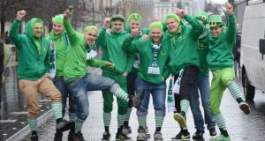 A group of friends from Austria get in to the spirit of the festivities. Photograph: Alan Betson/The Irish Times